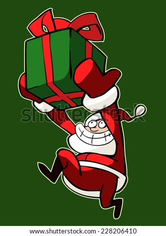 Christmas illustration of a funny Santa Claus running with a bright box of presents