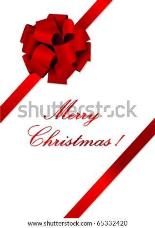 Christmas illustration of a red ribbon - stock vector