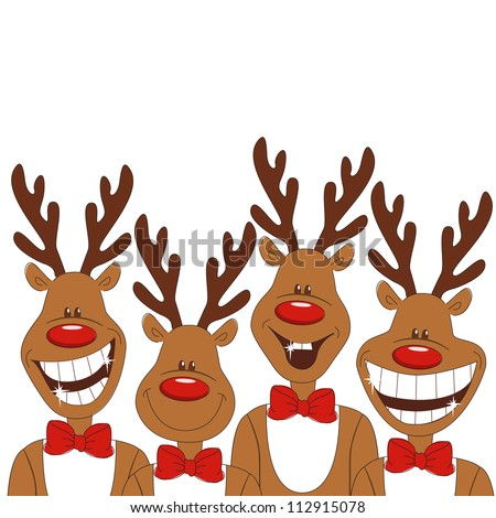Christmas illustration of cartoon reindeer. Vector - stock vector