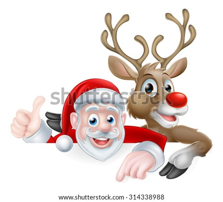 Christmas illustration of cartoon Santa and reindeer peeking above sign pointing and giving athumbs up - stock vector