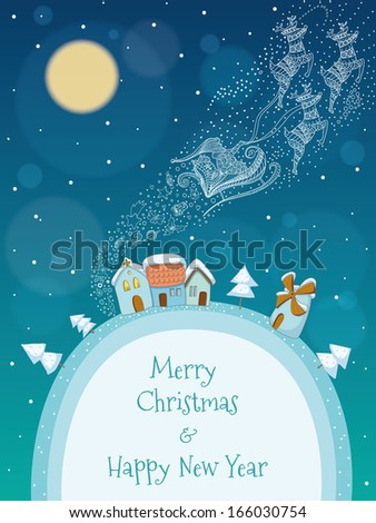 Christmas illustration of Santa and his reindeer flying above a snowy village. EPS 10. Transparency. Gradients. - stock vector