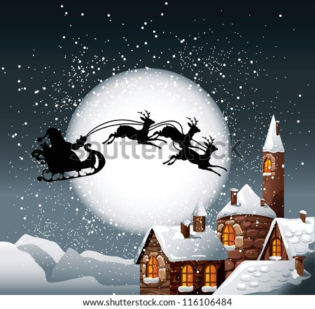 Christmas Illustration of Santa and his reindeer on full moon background with snowy town. - stock vector