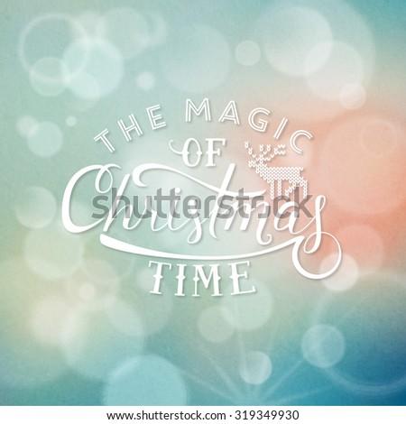 Christmas illustration on blurred background - stock vector