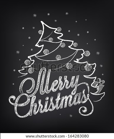 Christmas illustration on the chalkboard. Chalking, freehand drawing - stock vector