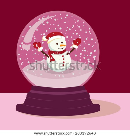 Christmas illustration theme with Snowman standing in purple snow ball.