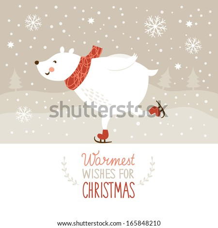 Christmas illustration, white bear and little birdy - stock vector