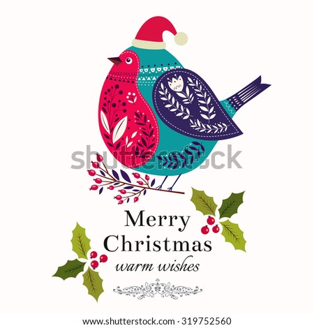 Christmas illustration with bird - stock vector