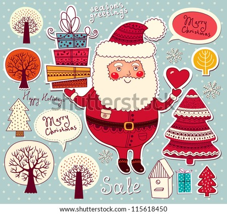Christmas illustration with funny Santa Claus