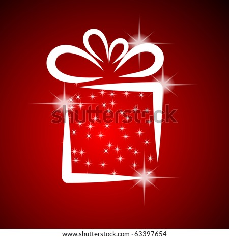 Christmas illustration with gift box on red background. EPS10 - stock vector