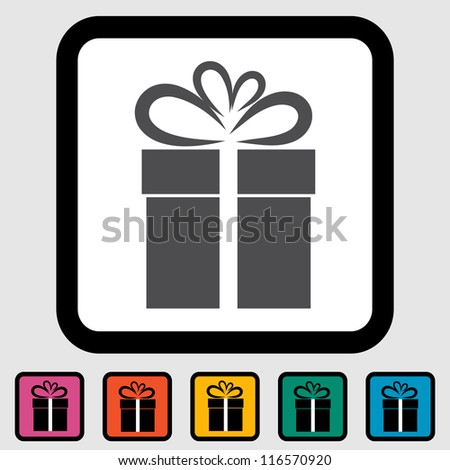 Christmas illustration with gift box on white background. Vector illustration. - stock vector
