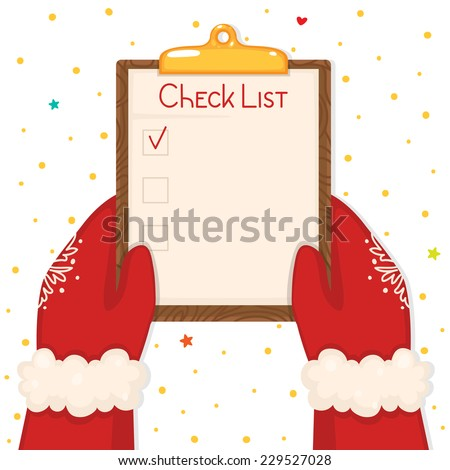 Christmas illustration with hands holding check list, vector. - stock vector