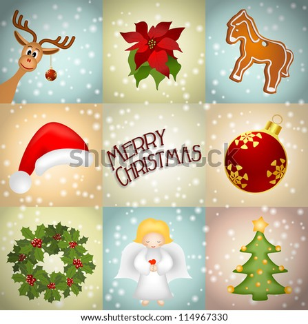 christmas illustration with reindeer, gingerbread, wreath, angel, christmas tree, poinsettia - vector illustration, eps10
