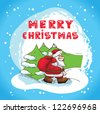 Christmas Illustration With Santa Claus - New Year Postcard In Retro style With Text  - Vector. - stock vector