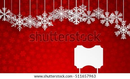 Christmas illustration with snowflakes and empty signboard