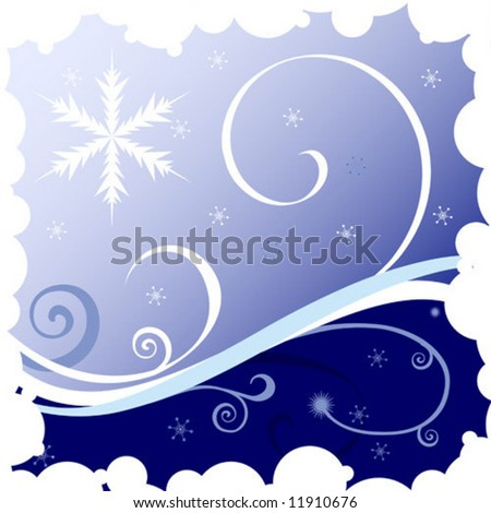 Christmas  illustration with snowflakes and waves on blue background