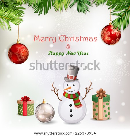 Christmas illustration with snowman.  - stock vector