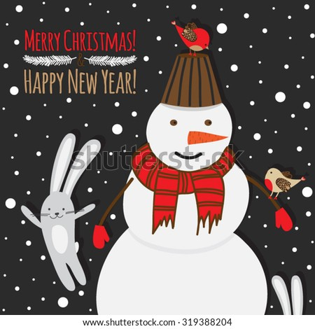 Christmas illustration with snowman , birds and rabbits