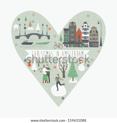 Christmas in Amsterdam Greeting Card - stock vector
