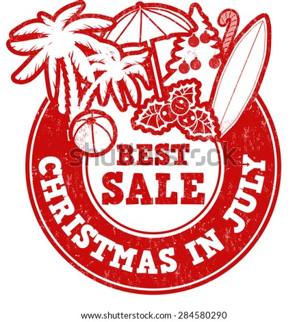 Christmas in july grunge rubber stamp on white, vector illustration - stock vector