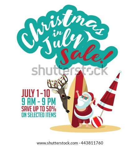 Christmas in July Sale marketing template. Christmas in July Sale advertisement with copy space. EPS 10 vector. - stock vector