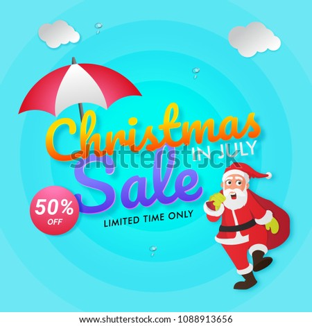 Christmas July Sale Poster Banner Flyer Stock Vector 2018