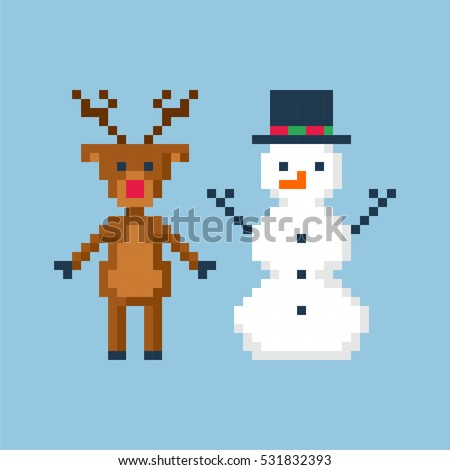Christmas  in style of eight-bit game. Deer and snowman. Vector illustration