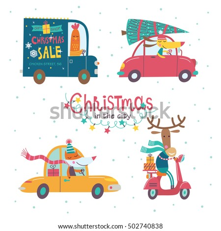 Christmas in the city. Part 1. Vector collection of cartoon characters. Cute animals are going by cars. The hustle and bustle of the city.