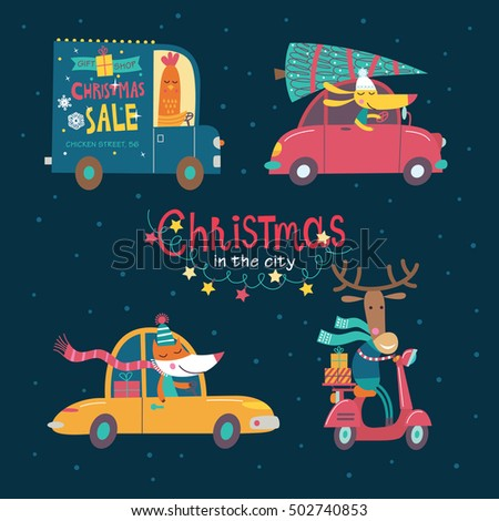 Christmas in the night city. Part 1. Vector collection of cartoon characters. Cute animals are going by cars. The hustle and bustle of the city.