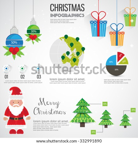Christmas Info graphics elements. Vector - stock vector