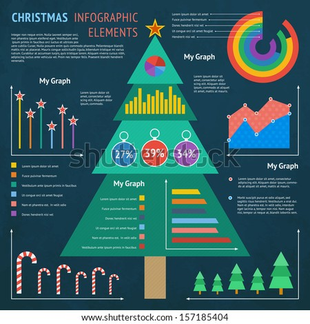 Christmas Infographic Elements - Flat Design Vector Illustration - stock vector