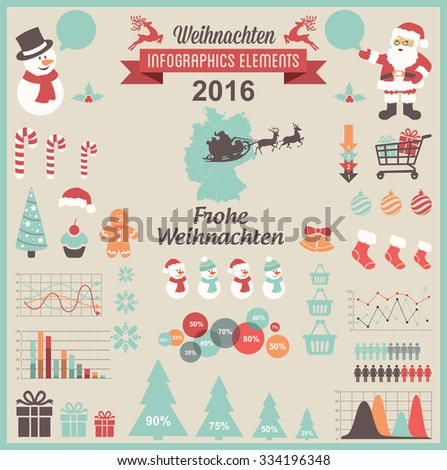 Christmas Infographic Elements- German Version - stock vector