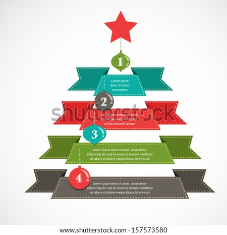 Christmas infographic set with charts and data elements - stock vector