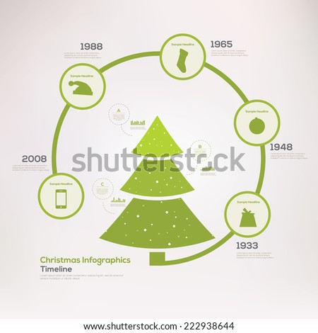 Christmas infographic timeline. Vector illustration - stock vector