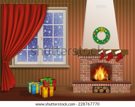 Christmas interior with a fireplace, gifts, and window - stock vector