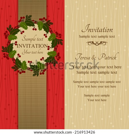 Christmas invitation card holly wreath red stock vector 216913426 christmas invitation card with holly wreath red and beige stopboris Choice Image