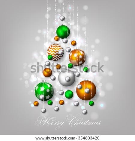 Christmas invitation with Christmas balls - stock vector