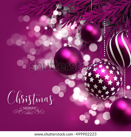 Christmas invitation with Christmas balls Merry Christmas and Happy New Year Card glowing lights
