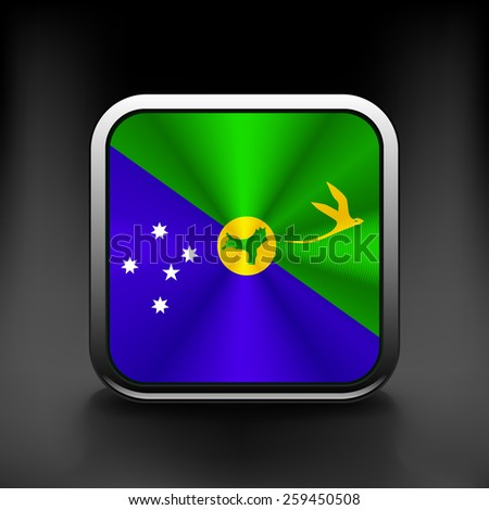 Christmas Islands flag national travel icon country symbol button - stock vector