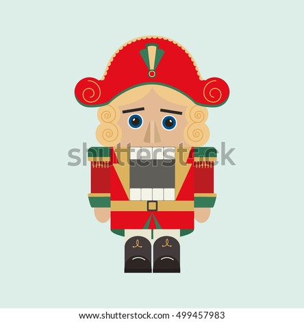 Christmas Isolated Nutcracker Soldier Figurine Icon Stock Vector ...