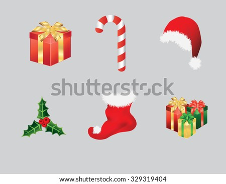 Christmas items consisting of Santa hat, candy cane, presents, stocking and green holly leaf with berries. Vector illustration format. Saved in illustrator version 10.  - stock vector