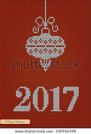 Christmas jumper fragment with 2017 New Year. Card of New Year 2017 with knitted texture. vector illustration for winter holiday, new years eve, silvester