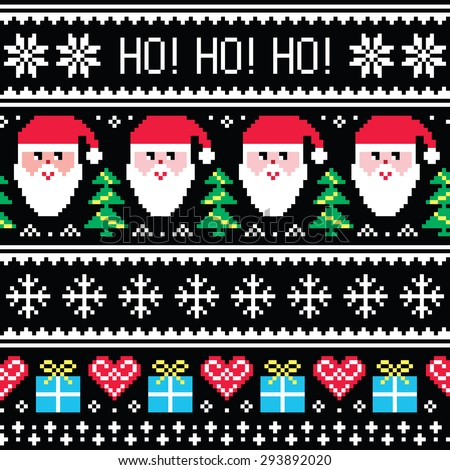 Christmas jumper or sweater seamless pattern with Santa and presents  - stock vector