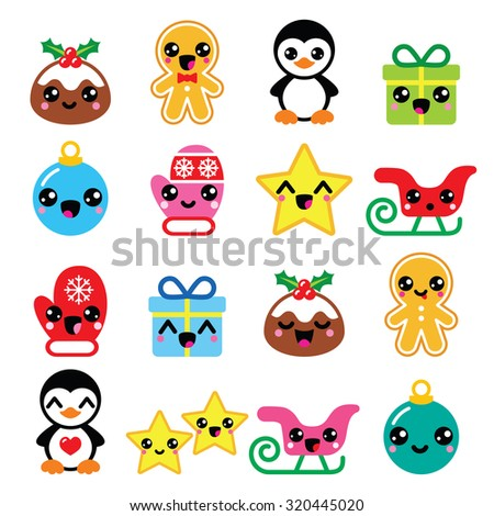 Christmas Kawaii icons - Christmas pudding, penguin, gingerbread man  - stock vector