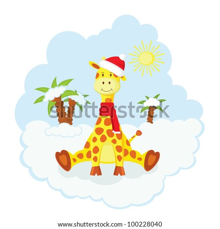 Christmas kid giraffe in hat and scarf  sitting  over snow