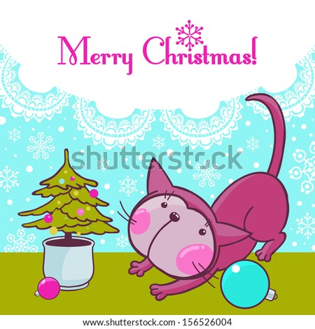 Christmas Kitty Cat on the Snow Window. Greeting Card. VECTOR. - stock vector