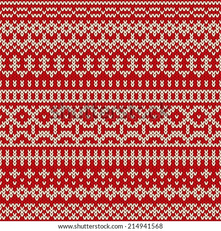 Christmas knitted seamless pattern in traditional Fair Isle style. Vector illustration - stock vector