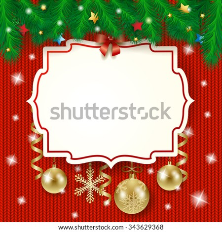 Christmas label and baubles on knitted background, vector illustration - stock vector