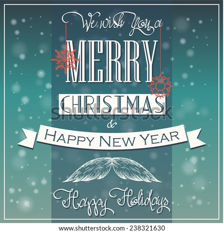 Christmas label on blurred background  - stock vector