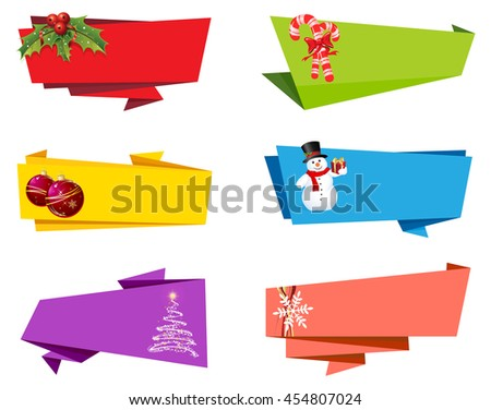 Christmas Label Ribbon Banner Vector - stock vector
