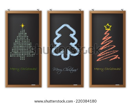 Christmas label set of three with scribbled christmas tree shapes - stock vector
